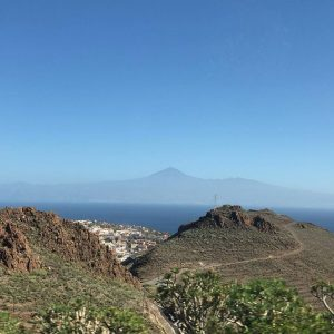 Mountain view in La Gomera with Tenerife in the background